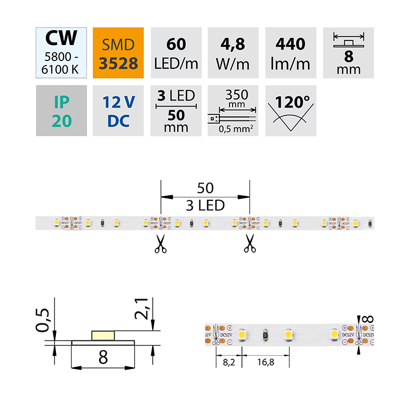 LED pásek SMD3528 studená bílá 8mm IP20 McLED 60 LED/metr, 4,8W/metr, DC 12 V, IP20
