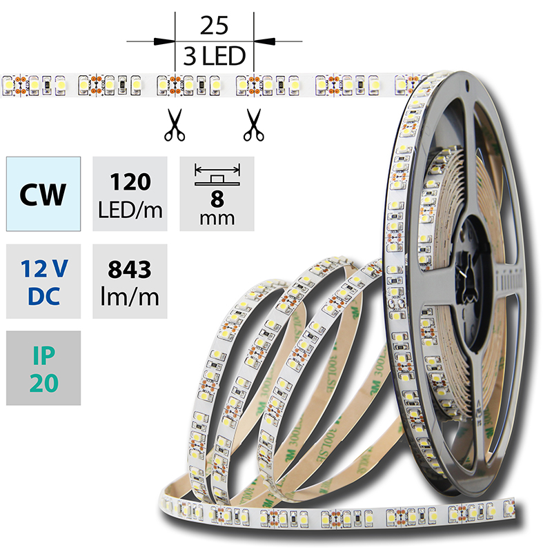 LED pásek SMD3528 studená bílá 8mm IP20 McLED 120 LED/metr, 9,6 W/metr, DC 12 V, IP20
