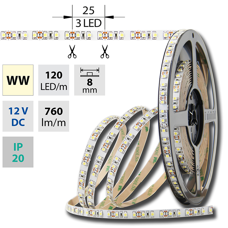 LED pásek SMD3528 teple bílá 8mm IP20 McLED 120 LED/metr, 9,6 W/metr, DC 12 V, IP20