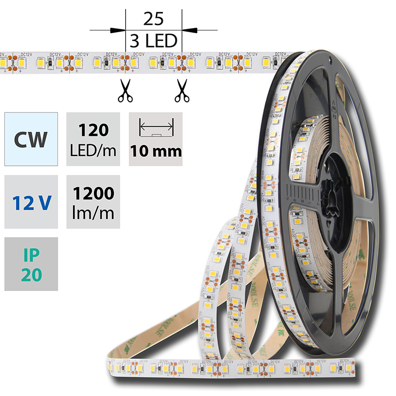LED pásek SMD2835 studená bílá 10mm IP20 McLED 120 LED/metr, 12 W/metr, DC 12 V, IP20