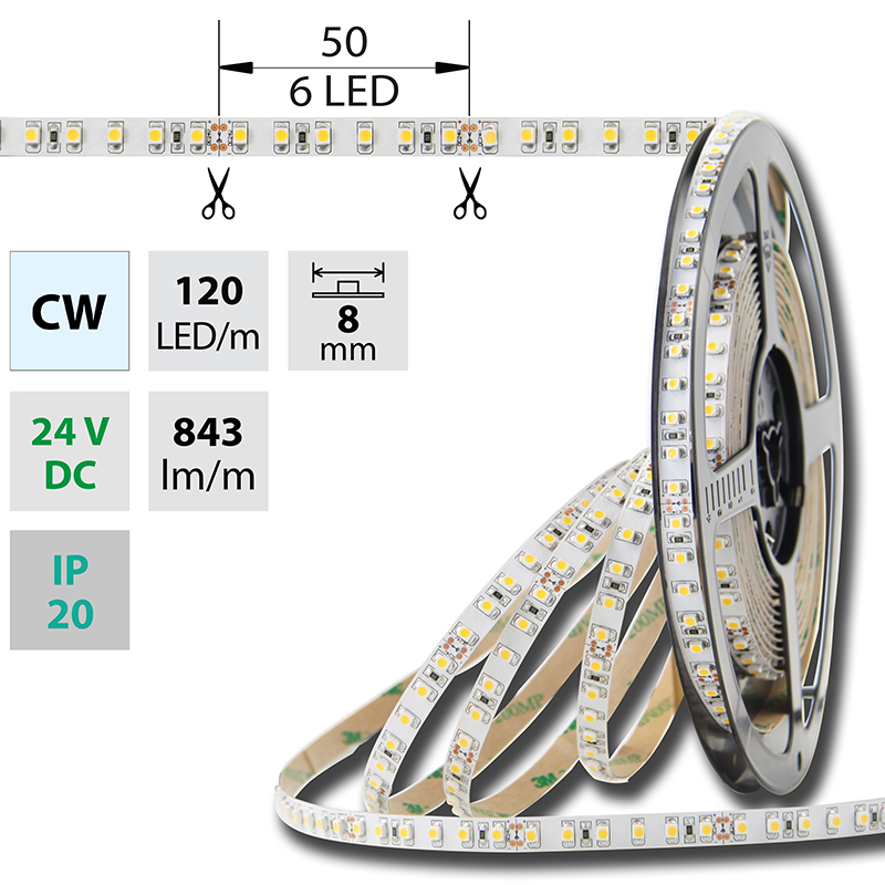 LED pásek SMD3528 studená bílá 8mm IP20 McLED 120 LED/metr, 9,6 W/metr, DC 24 V, IP20