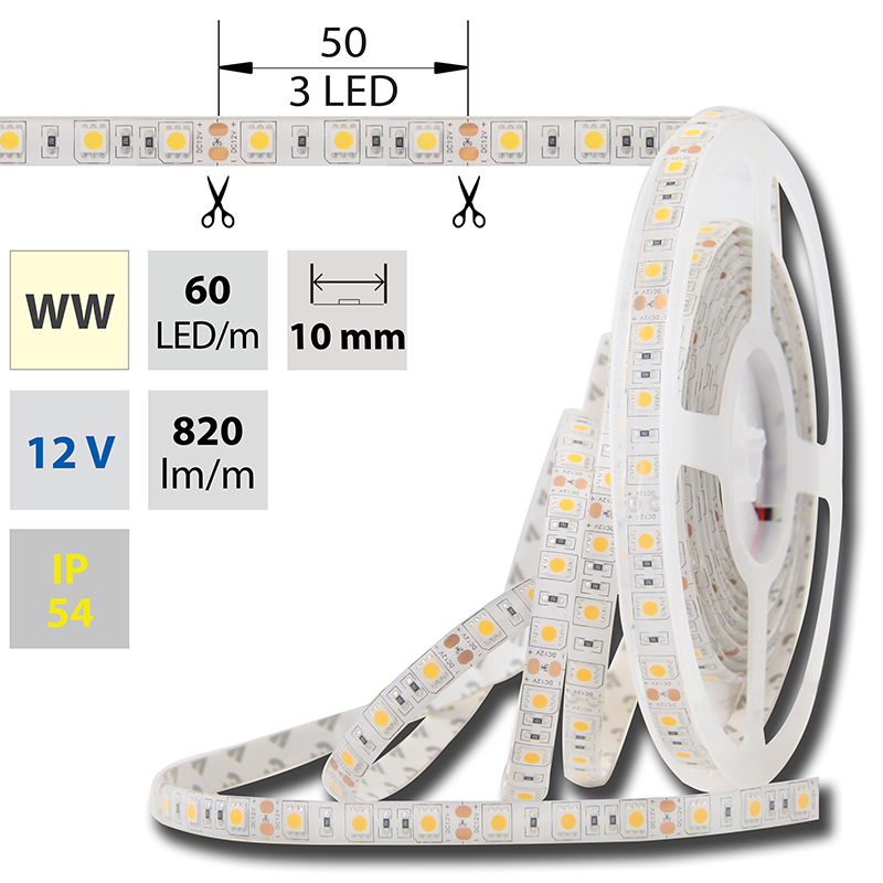 LED pásek SMD5050 teple bílá 10mm IP54 McLED 60 LED/metr, 14,4W/metr, DC 12 V, IP54