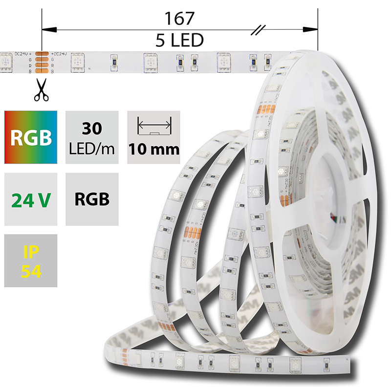 LED pásek SMD5050 RGB 10mm IP54 McLED 30 LED/metr, 7,2W/metr, DC 24 V, IP54