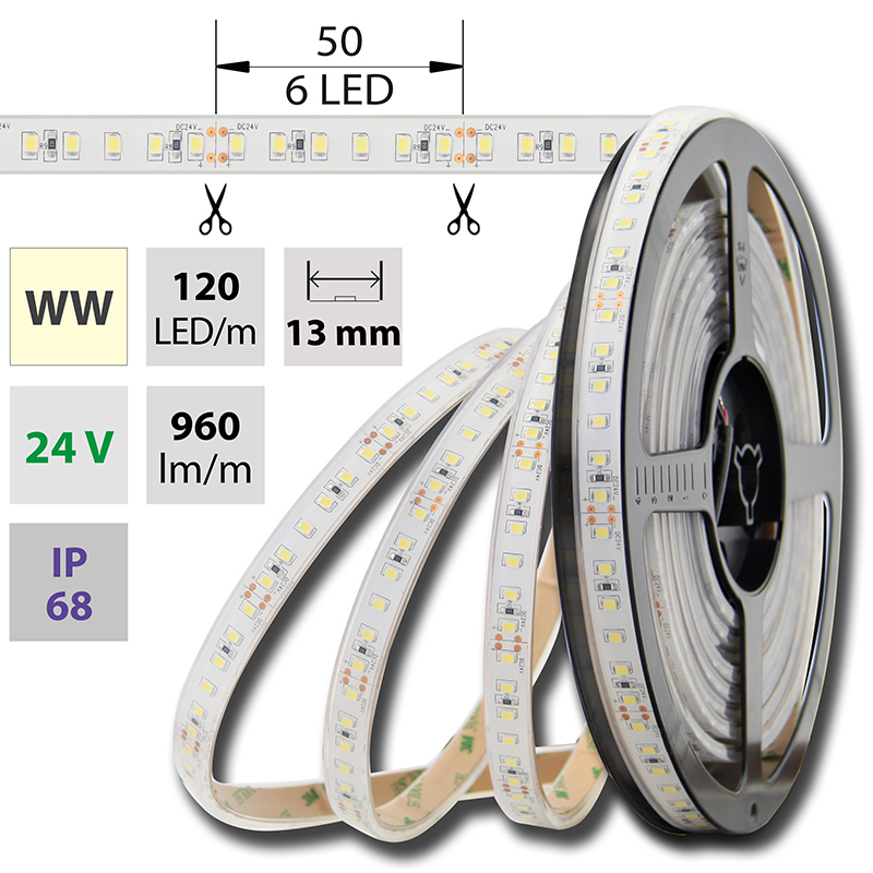 LED pásek SMD2835 teple bílá 1x3mm IP68, McLED 120 LED/metr, 12 W/metr, DC 24 V, IP68