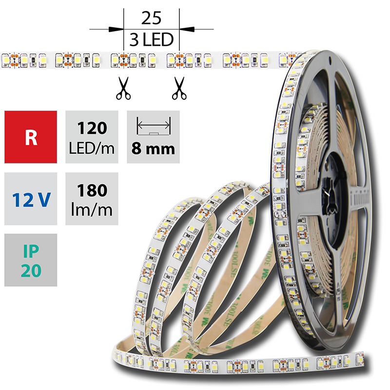LED pásek SMD3528 červená 8mm IP20, McLED 120 LED/metr, 9,6 W/metr, DC 12 V, IP20