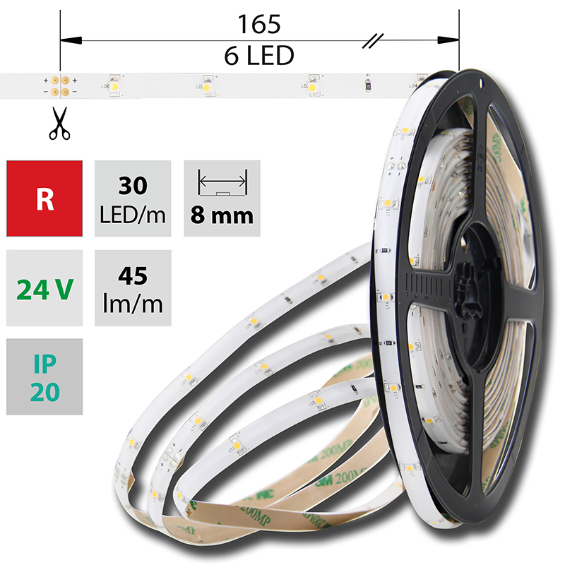 LED pásek SMD3528 červená 8mm IP20, McLED 30 LED/metr, 2,4 W/metr, DC 24 V, IP20