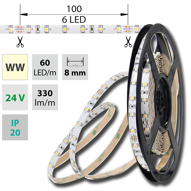 LED pásek SMD3528 teple bílá 8mm IP20 McLED 60 LED/metr, 4,8 W/metr, DC 24 V, IP20