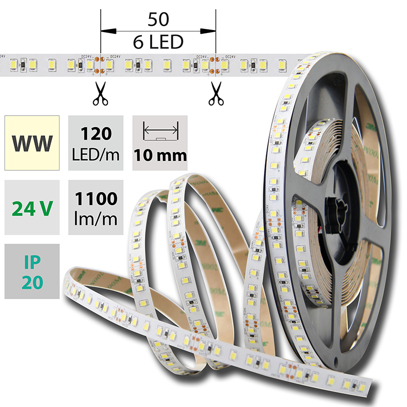 LED pásek SMD2835 teple bílá 10mm IP20 McLED 120 LED/metr, 12 W/metr, DC 24 V, IP20