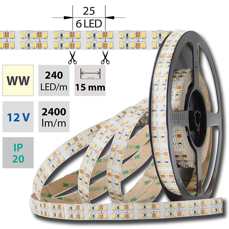LED pásek SMD2835 teple bílá 1x5mm IP20 McLED 240 LED/metr, 26W/metr, DC 12 V, IP20