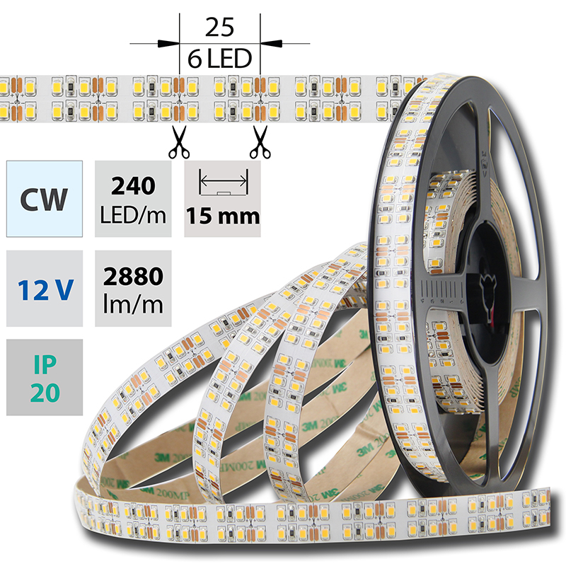 LED pásek SMD2835 studená bílá 1x5mm IP20 McLED 240 LED/metr, 26W/metr, DC 12 V, IP20