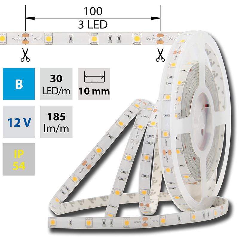 LED pásek SMD5050 modrá 10mm IP54 McLED 30 LED/metr, 7,2W/metr, DC 12 V, IP54