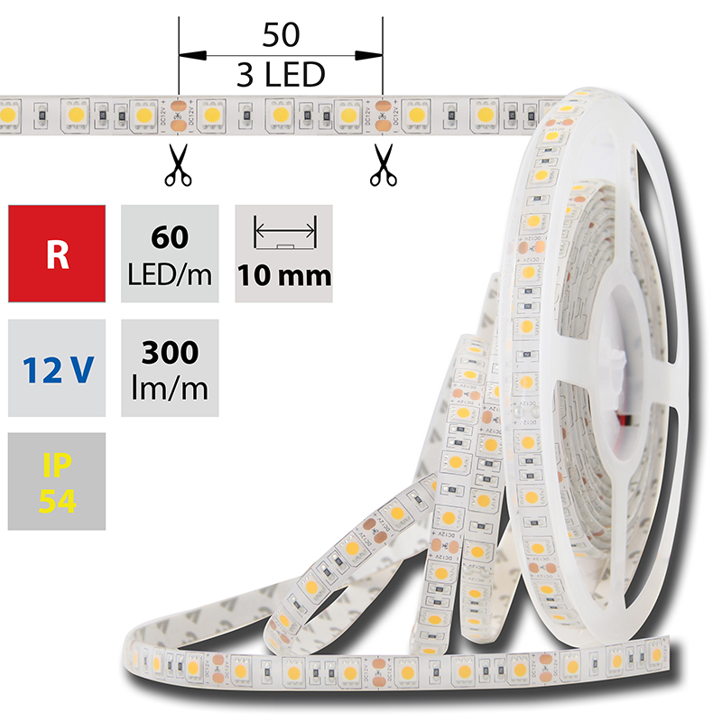 LED pásek SMD5050 červená 10mm IP54 McLED 60 LED/metr, 14,4W/metr, DC 12 V, IP54