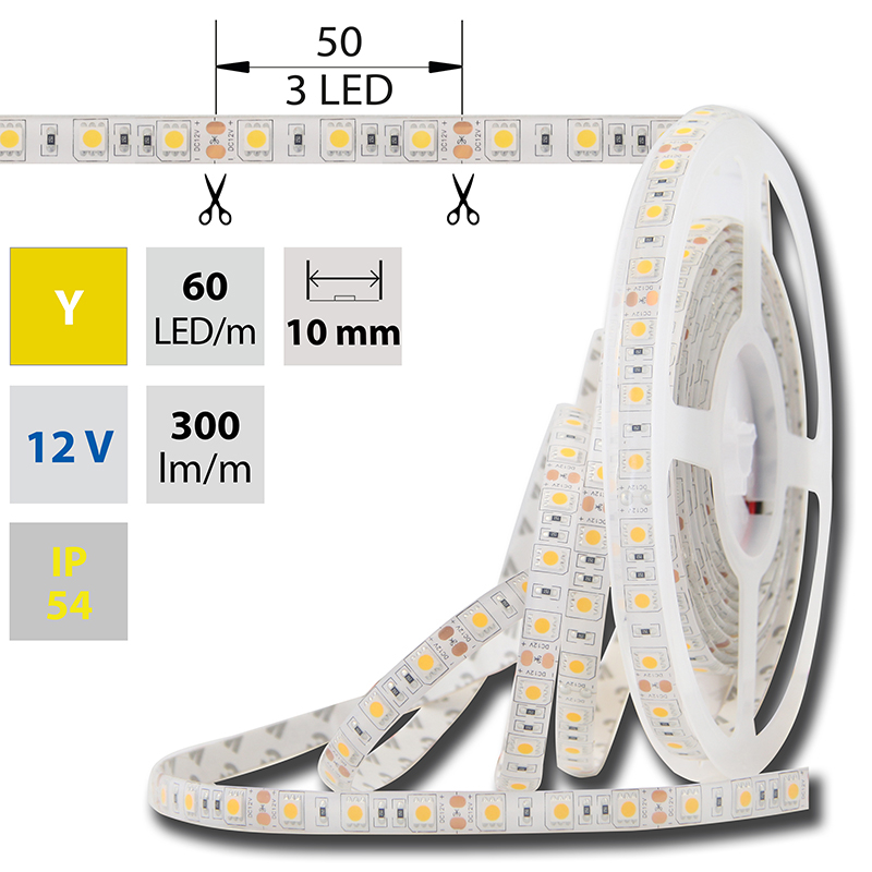 LED pásek SMD5050 žlutá 10mm IP54 McLED 60 LED/metr, 14,4W/metr, DC 12 V, IP54