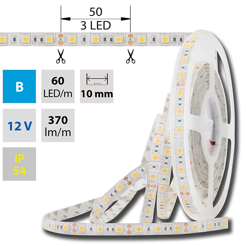 LED pásek SMD5050 modrá 10mm IP54 McLED 60 LED/metr, 14,4W/metr, DC 12 V, IP54