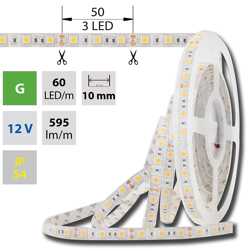 LED pásek SMD5050 zelená 10mm IP54 McLED 60 LED/metr, 14,4W/metr, DC 12 V, IP54