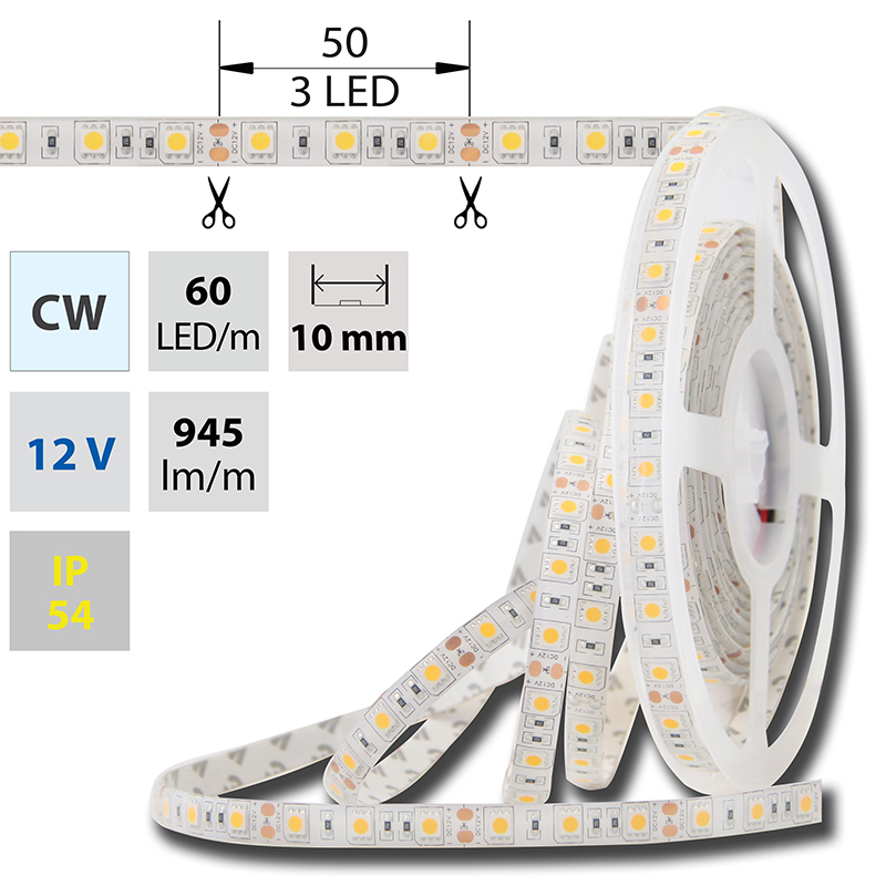 LED pásek SMD5050 studená bílá 10mm IP54 McLED 60 LED/metr, 14,4W/metr, DC 12 V, IP54