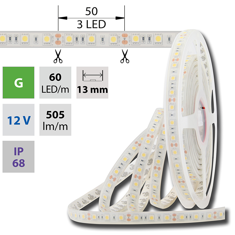 LED pásek SMD5050 zelená 1x3mm IP68 McLED 60 LED/metr, 14,4W/metr, DC 12 V, IP68