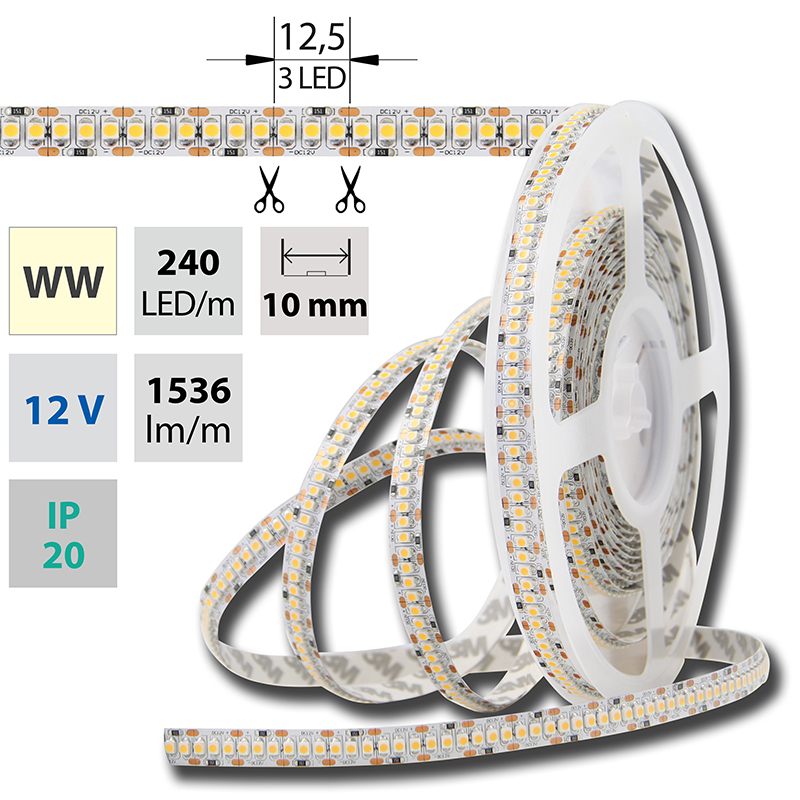 LED pásek SMD3528 teple bílá 10mm IP20 McLED 240 LED/metr, 17,6W/metr, DC 12 V, IP20