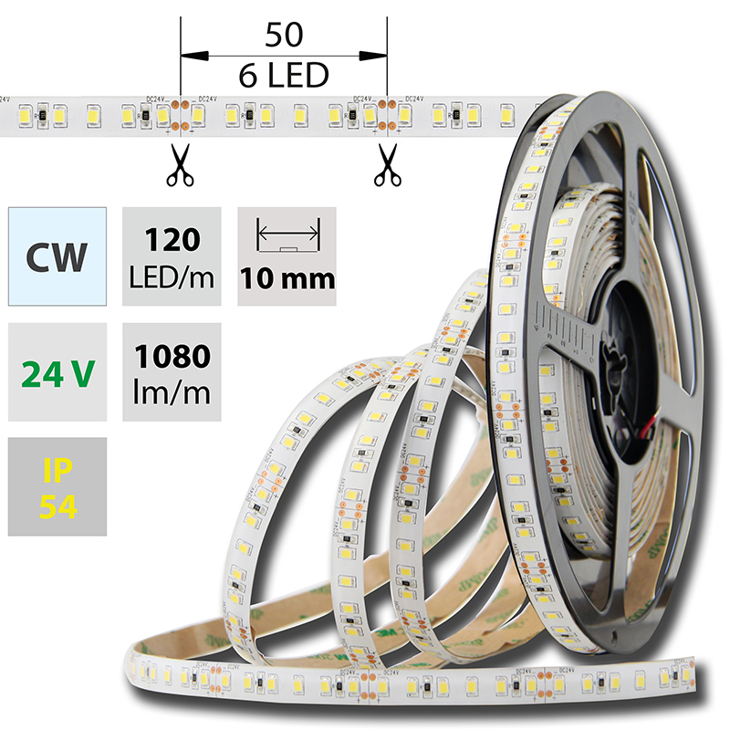 LED pásek SMD2835 studená bílá 10mm IP54 McLED 120 LED/metr, 12 W/metr, DC 24 V, IP54
