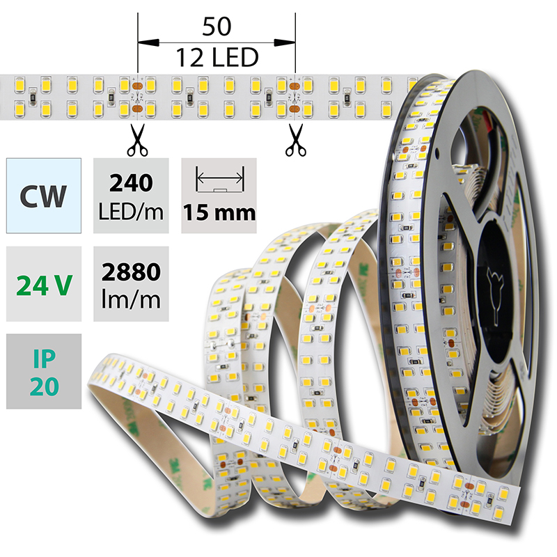 LED pásek SMD2835 studená bílá 1x5mm IP20 McLED 240 LED/metr, 26W/metr, DC 24 V, IP20