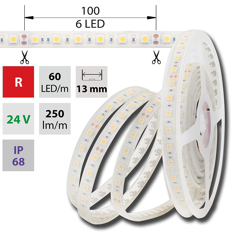 LED pásek SMD5050 červená 1x3mm IP68 McLED 60 LED/metr, 14,4W/metr, DC 24 V, IP68