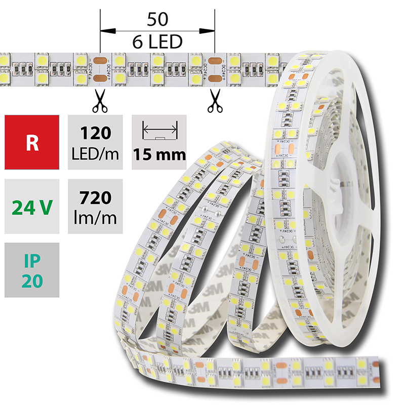 LED pásek SMD5050 červená 1x5mm IP20 McLED 120 LED/metr, 28,8 W/metr, DC 24 V, IP20