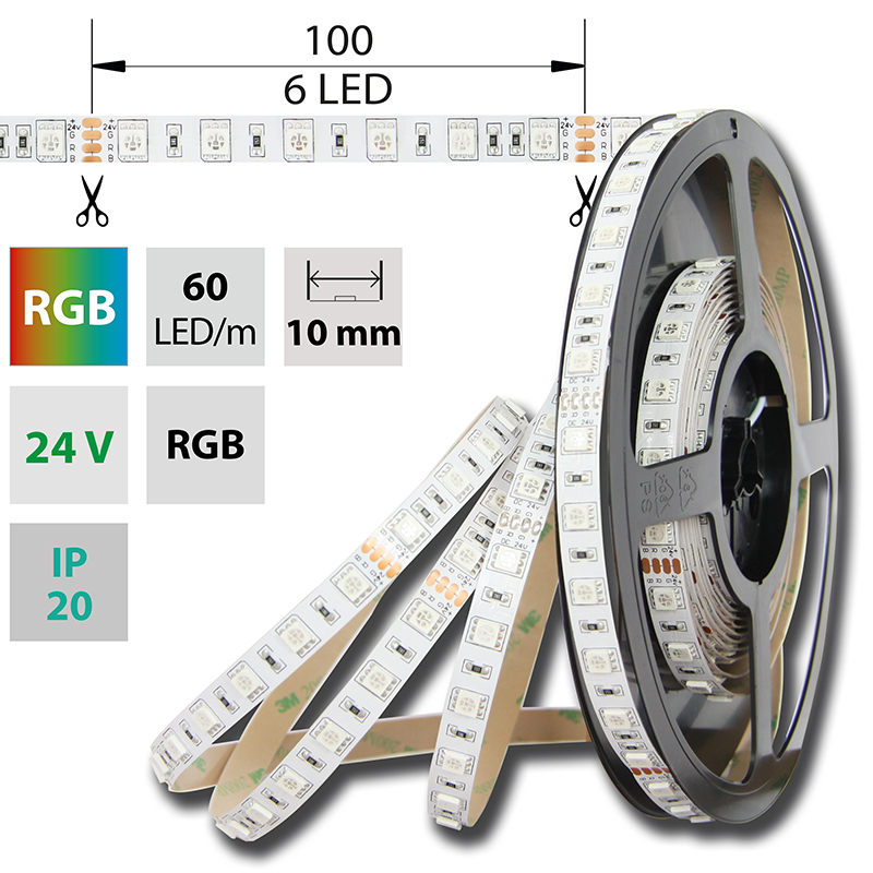 LED pásek SMD5050 RGB 10mm IP20