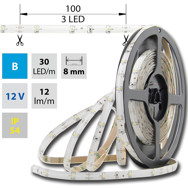 LED pásek SMD3528 modrá 8mm IP54 McLED 30 LED/metr, 2,4 W/metr, DC 12 V, IP54