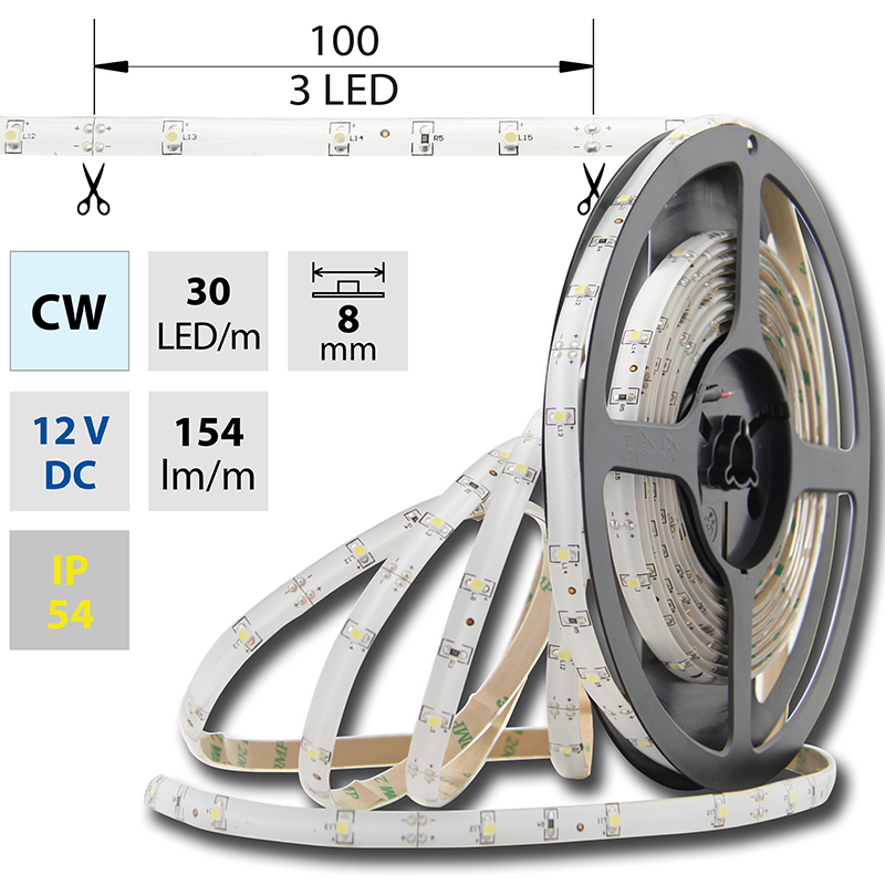 LED pásek SMD3528 studená bílá 8mm IP54 McLED 30 LED/metr, 2,4 W/metr, DC 12 V, IP54