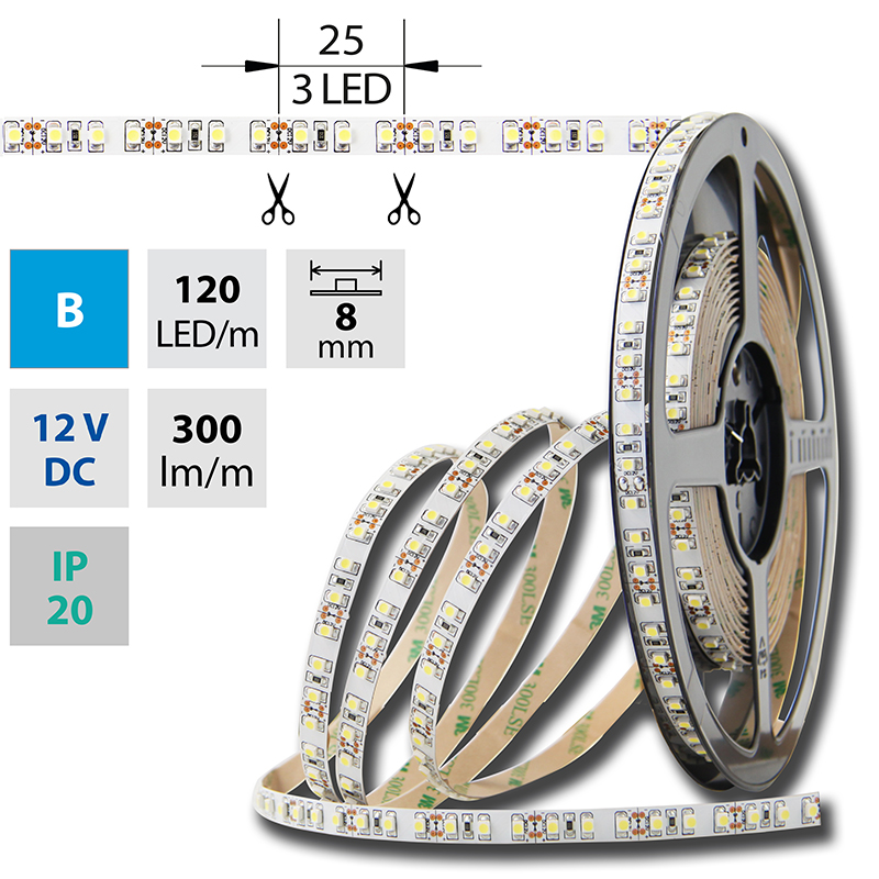 LED pásek SMD3528 modrá 8mm IP20 McLED 120 LED/metr, 9,6 W/metr, DC 12 V, IP20