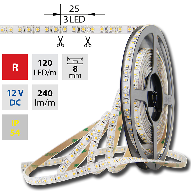 LED pásek SMD3528 červená 8mm IP54 McLED 120 LED/metr, 9,6 W/metr, DC 12 V, IP54