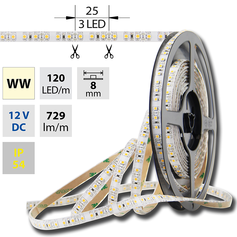 LED pásek SMD3528 teple bílá 8mm IP54 McLED 120 LED/metr, 9,6 W/metr, DC 12 V, IP54