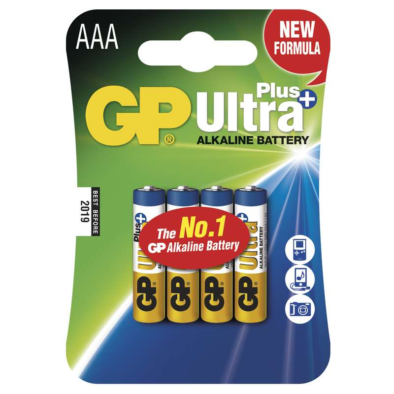 Alkalická baterie GP Ultra Plus LR03 (AAA), blistr 4ks