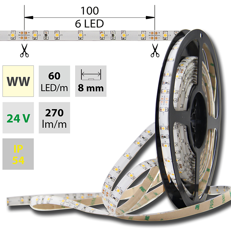 LED pásek SMD3528 teple bílá 8mm IP54, McLED 60 LED/metr, 4,8 W/metr, DC 24 V, IP54