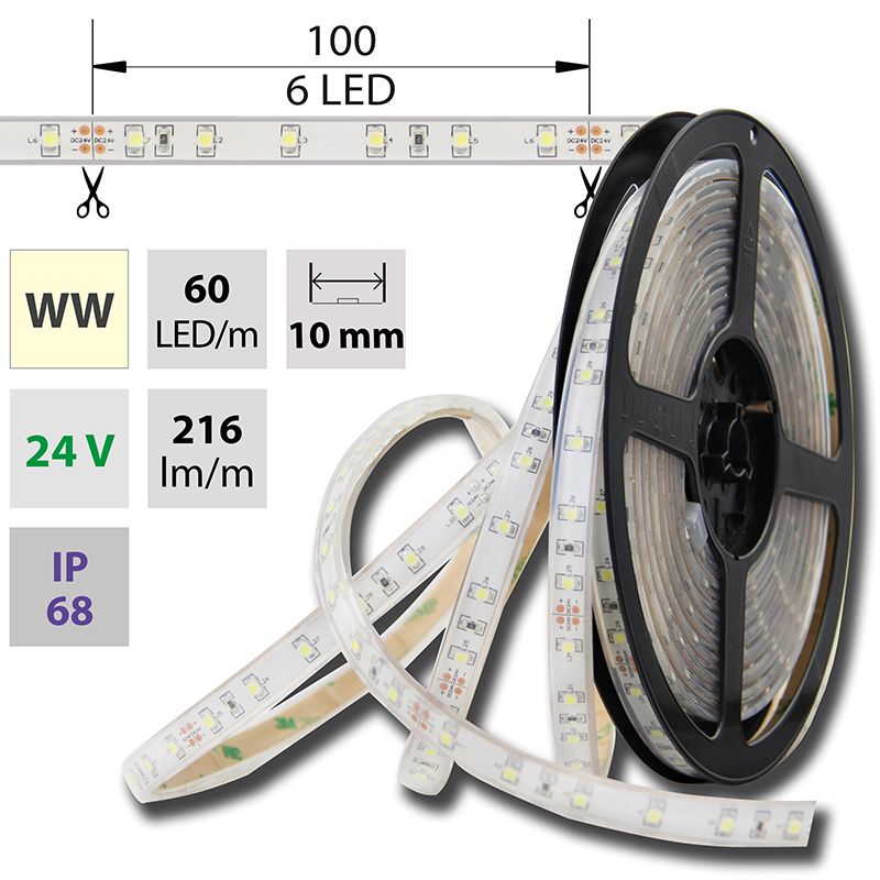 LED pásek SMD3528 teple bílá 10mm IP68, McLED 60 LED/metr, 4,8 W/metr, DC 24 V, IP68