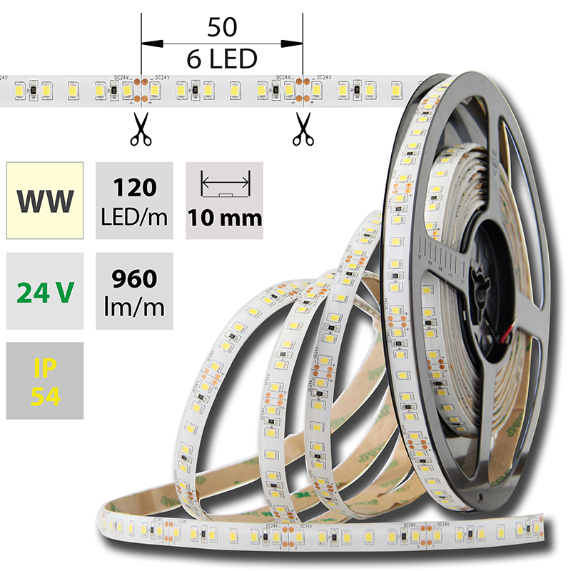 LED pásek SMD2835 teple bílá 10mm IP54, McLED 120 LED/metr, 12 W/metr, DC 24 V, IP54