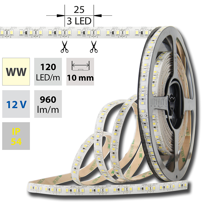 LED pásek SMD2835 teple bílá 10mm IP54, McLED 120 LED/metr, 12 W/metr, DC 12 V, IP54