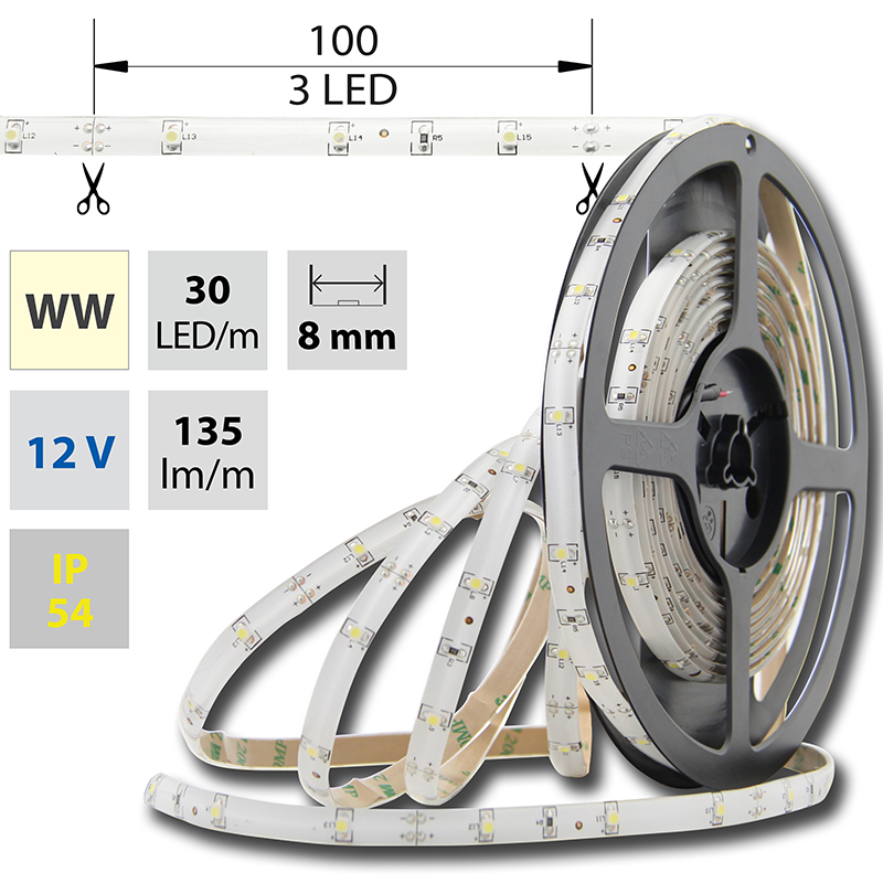 LED pásek SMD3528 teple bílá 8mm IP54, McLED 30 LED/metr, 2,4 W/metr, DC 12 V, IP54