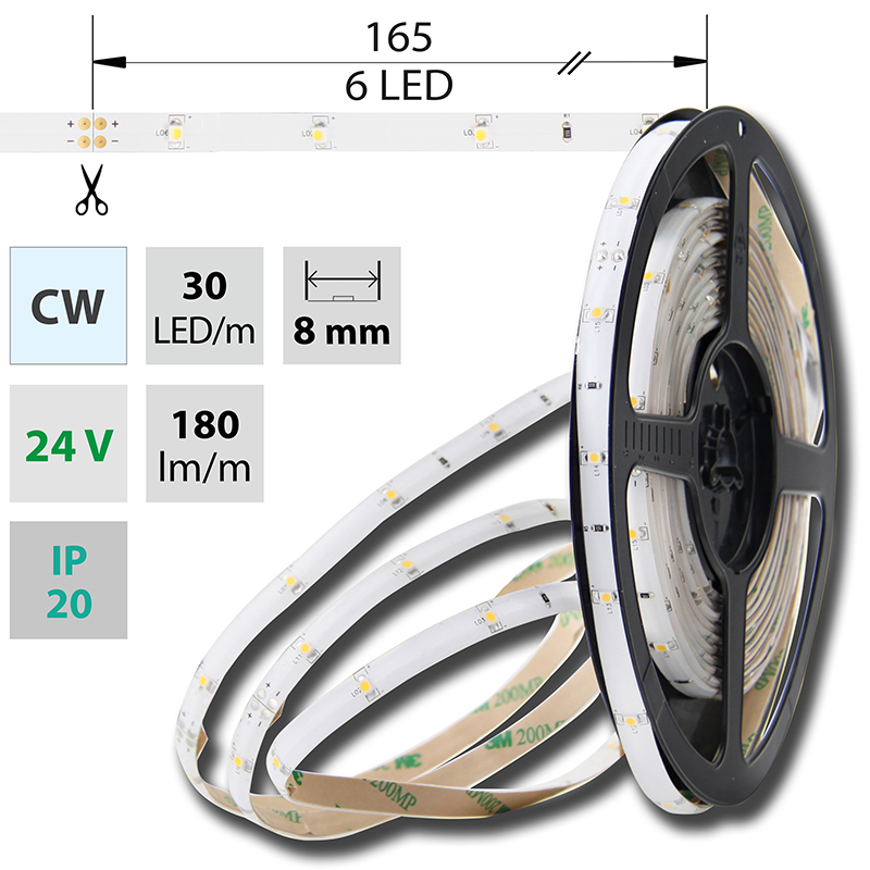 LED pásek SMD3528 studená bílá 8mm IP20, McLED 30 LED/metr, 2,4 W/metr, DC 24 V, IP20