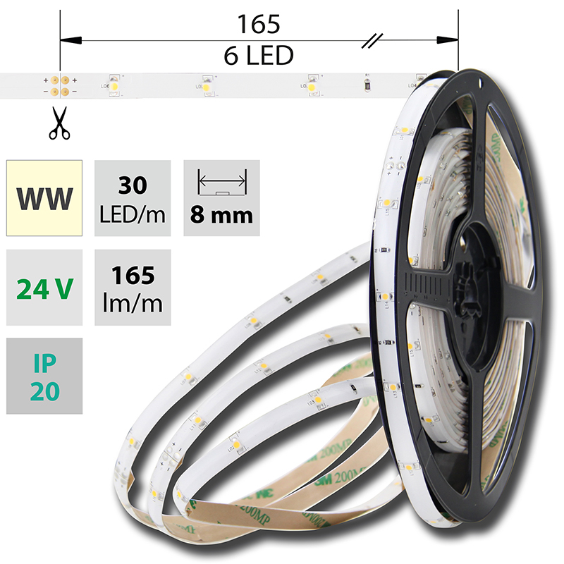 LED pásek SMD3528 teple bílá 8mm IP20, McLED 30 LED/metr, 2,4 W/metr, DC 24 V, IP20