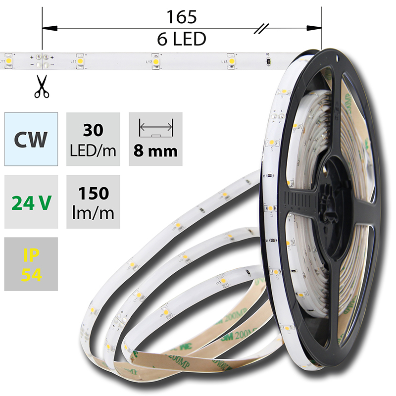 LED pásek SMD3528 studená bílá 8mm IP54, McLED 30 LED/metr, 2,4 W/metr, DC 24 V, IP54