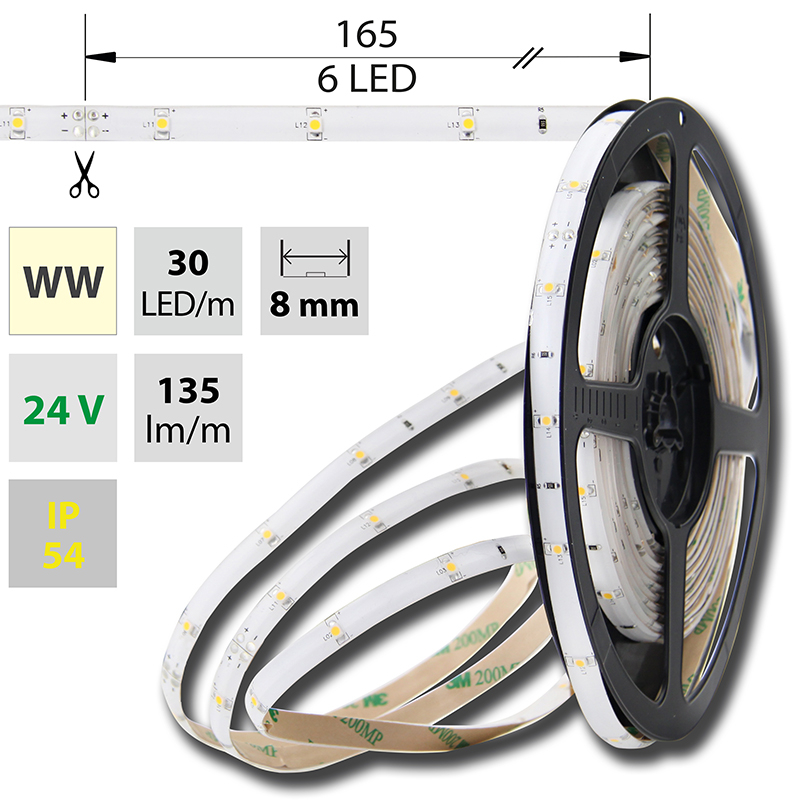 LED pásek SMD3528 teple bílá 8mm IP54, McLED 30 LED/metr, 2,4 W/metr, DC 24 V, IP54