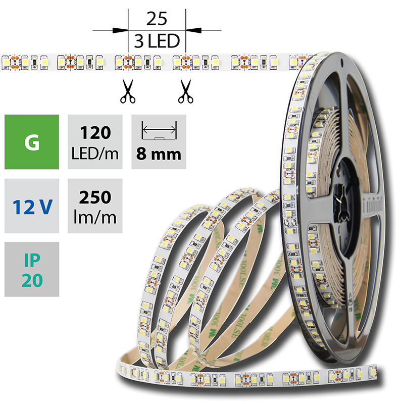 LED pásek SMD3528 zelená 8mm IP20, McLED 120 LED/metr, 9,6 W/metr, DC 12 V, IP20