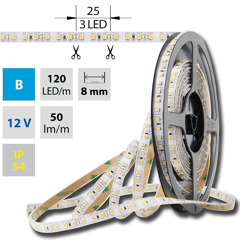 LED pásek SMD3528 modrá 8mm IP54, McLED 120 LED/metr, 9,6 W/metr, DC 12 V, IP54