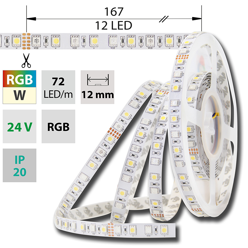 LED pásek SMD5050 RGB a bílá 12mm IP20, McLED 72 LED/metr, 17,28 W/metr, DC 24 V, IP20