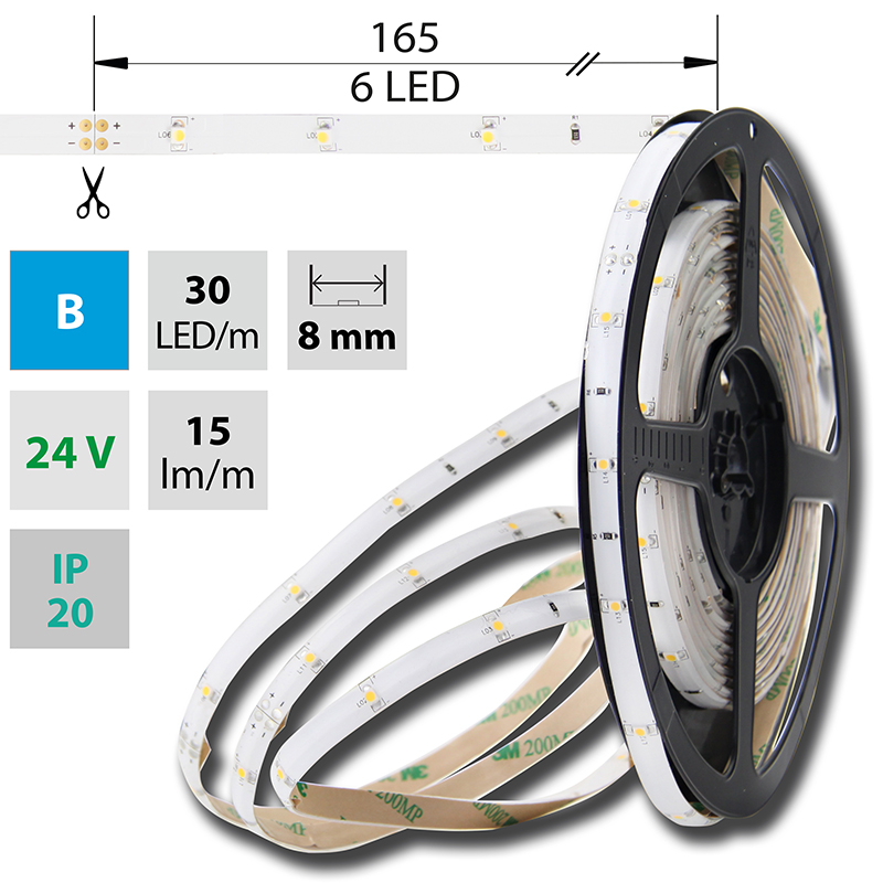 LED pásek SMD3528 modrá 8mm IP20, McLED 30 LED/metr, 2,4 W/metr, DC 24 V, IP20