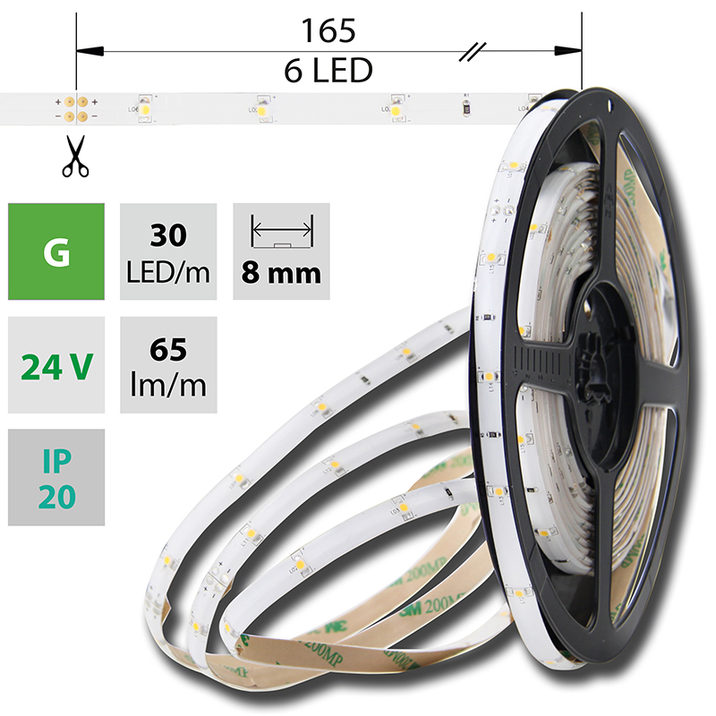 LED pásek SMD3528 zelená 8mm IP20, McLED 30 LED/metr, 2,4 W/metr, DC 24 V, IP20
