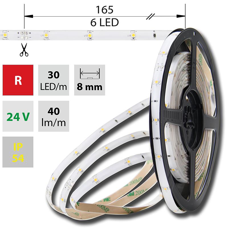 LED pásek SMD3528 červená 8mm IP54, McLED 30 LED/metr, 2,4 W/metr, DC 24 V, IP54