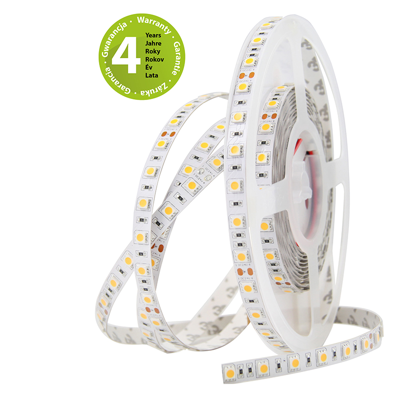 LED pásek SMD5050 teple bílá 10mm IP20 McLED 60 LED/metr, 14,4W/metr, DC 24 V, IP20