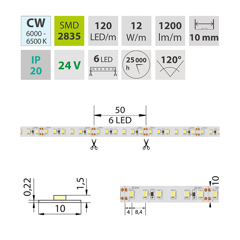LED pásek SMD2835 studená bílá 10mm IP20 McLED 120 LED/metr, 12W/metr, DC 24 V, IP20